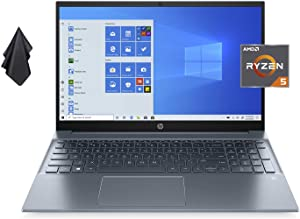 """2021 Newest HP Pavilion 15.6"""" FHD IPS Non-Touch Laptop, AMD 6-Core Ryzen 5 4500U Up to 4.0 GHz (Beats i5-1035G1), 16GB DDR4 RAM, 512GB PCI-e SSD, 720P Webcam, WiFi, HDMI, Win 10 Home + Oydisen Cloth"""