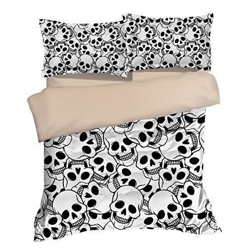 Amazing Skull White Cotton Microfiber 3pc 104''x90'' Bedding Quilt Duvet Cover Sets 2 Pillow Cases King Size by DIY Duvetcover