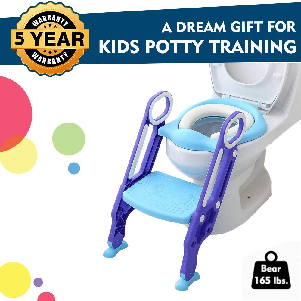 EGREE Potty Training Toilet Seat with Step Ladder for Kids and Toddler Boys Girls - Soft Padded Seat with Foldable Wide Step and Safety Handles - Blue and Purple by EGREE