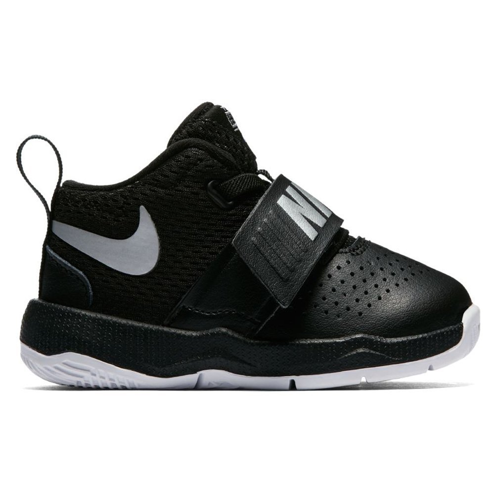 Nike Toddler Team Hustle D 8 (TD) Black Metallic Silver White Size 4