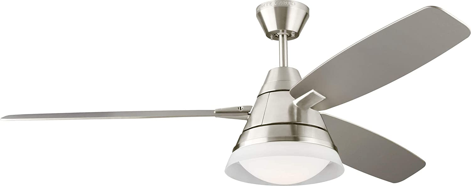 Monte Carlo 3NDR54BSD Nord 54 inch Ceiling Fan Comes With LED Light and Remote, Brushed Steel