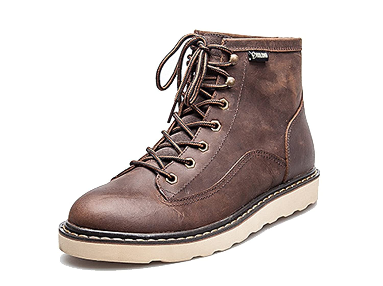 Mens Premium Cowskin Leather Combat Boots Casual Lace Up Ankle Booties HL01