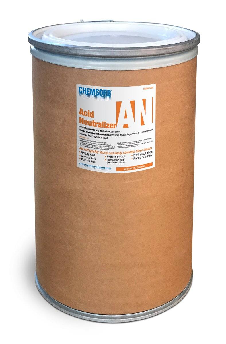 Chemsorb AN - Acid Neutralizing Absorbent, 30 Gal. Drum, SP60AN-L30D, Fast-Acting Acid Neutralizer Absorbent Spill Response, Safe Color Changing Technology, Silica Free Neutralizer, Laboratories