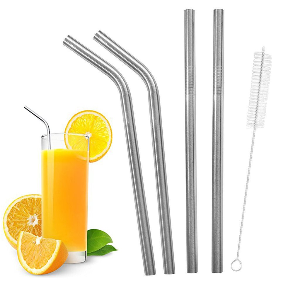 Wide Stainless Steel Smoothie Straws Set and Cleaning Brushes - Includes 2 Straight, 2 Bent Food Grade Wide Reusable Metal Straws + 1 Cleaning Brushes, Eco-Friendly LXMY drinking straw FBA jp