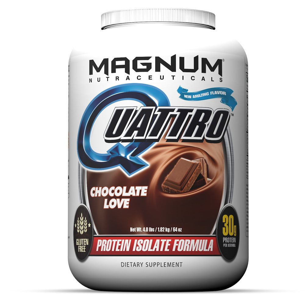 Magnum Nutraceuticals Quattro Protein Powder - 4lbs - Chocolate Love - Pharmaceutical Grade Protein Isolate - Lactose Free - Gluten Free - Peanut Free