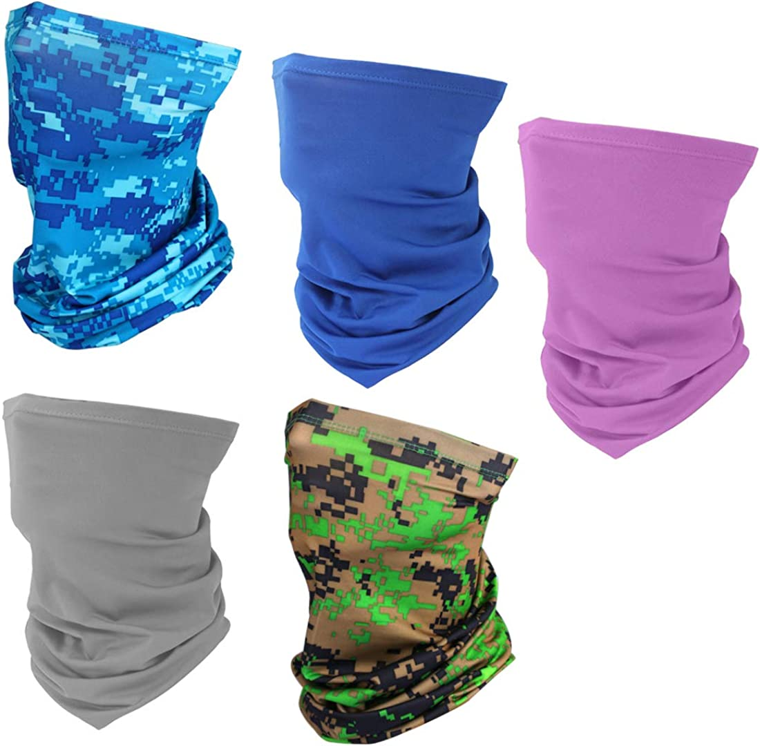 5 Pieces Sun UV Protection Face Cover Mask Neck Gaiter Windproof Dust Scarf Breathable Cooling Bandana
