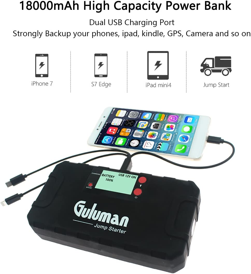Guluman Car Jump Start Peak 18000/ mAh 800/ A Jump Starter Car Battery Starter External Battery Charger with LCD Display and LED Flashlight