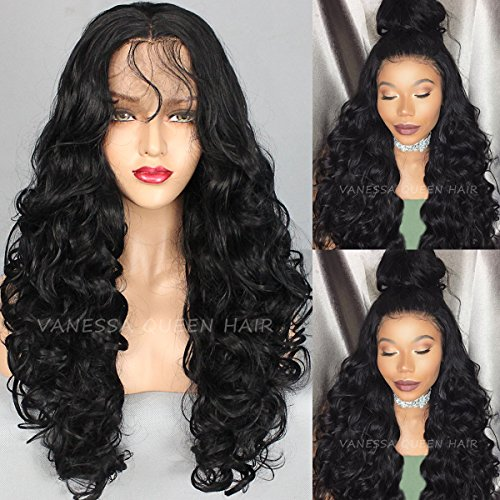 Vanessa Queen Long Body Wave Wigs Synthetic Lace Front Wig Black Color Wavy Wig for Black Women 26 - Wear Vanessa
