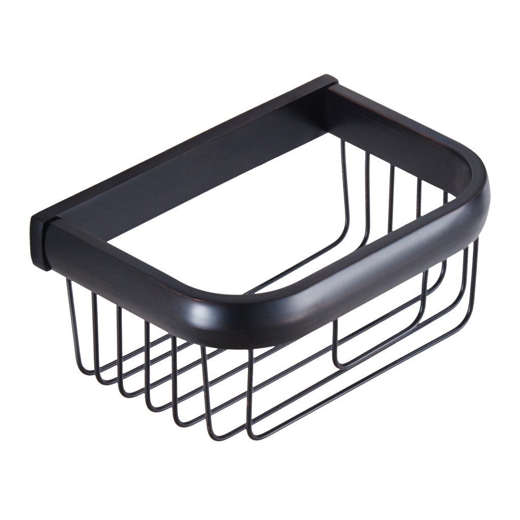 MagiDeal 1 piece Black Bronze Brass Bathroom Rectangle Shelves Basket Tissue Holder