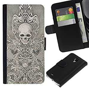All Phone Most Case / Oferta Especial Cáscara Funda de cuero Monedero Cubierta de proteccion Caso / Wallet Case for Samsung Galaxy S4 Mini i9190 // Skull Throne Anger Abstract Metal