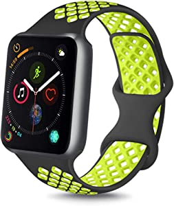 YILED [Pack 3] Bands Compatible with Apple Watch Band 38mm 40mm 42mm 44mm, Soft Silicone Replacement Band for iWatch Series 6 5 4 3 2 1 SE (.Black Volt, 38mm/40mm M/L)