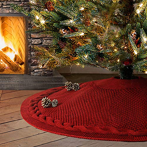 LimBridge Christmas Tree Skirt, 48 inches Luxury Cable Knit Knitted Thick Rustic Xmas Holiday Decoration, Burgundy