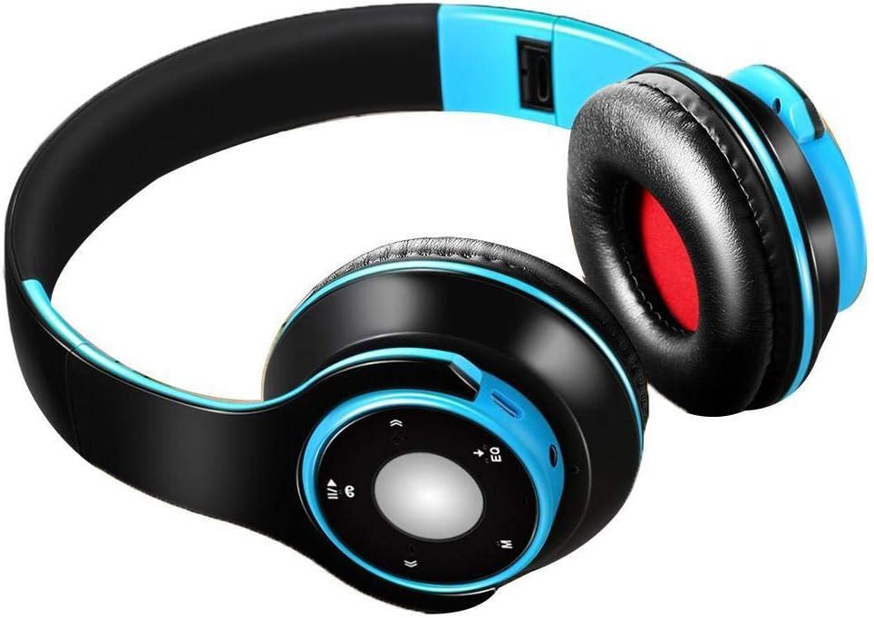 Jingjing1 Hi-Fi Stereo Wireless Bluetooth 4.0 Headphones, Foldable Over Ear Sports Wireless Headset with Microphone Noise Canceling Stereo, Lightweight Wired Wireless Headphones Blue