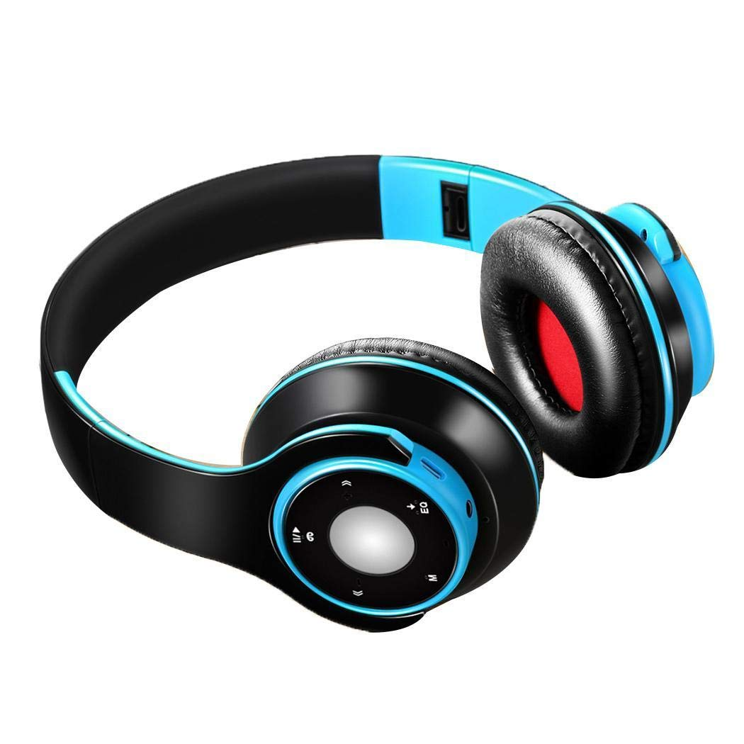 Jingjing1 Hi-Fi Stereo Wireless Bluetooth 4.0 Headphones, Foldable Over Ear Sports Wireless Headset with Microphone Noise Canceling Stereo, Lightweight Wired Wireless Headphones Blue