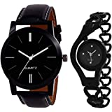 A Square Super Quality Premium Analog Watches Combo Set for Couple Pack of - 2 LR05-CHAIN