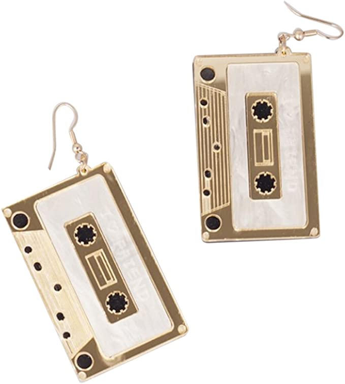 Vintage Style Jewelry, Retro Jewelry CutieJewelry Cassette Tape Dangle Cute Pretty Earrings $4.75 AT vintagedancer.com