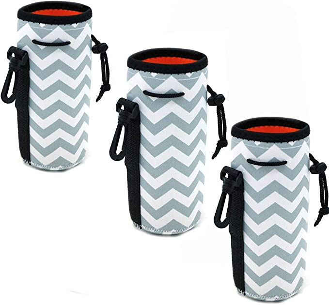 Auch 5 Pack Neoprene Sleeve Water Bottles Cup Carrier Pouch with Carrying Handle,Fit for All 16oz-21oz Portable Sport Water Bottle