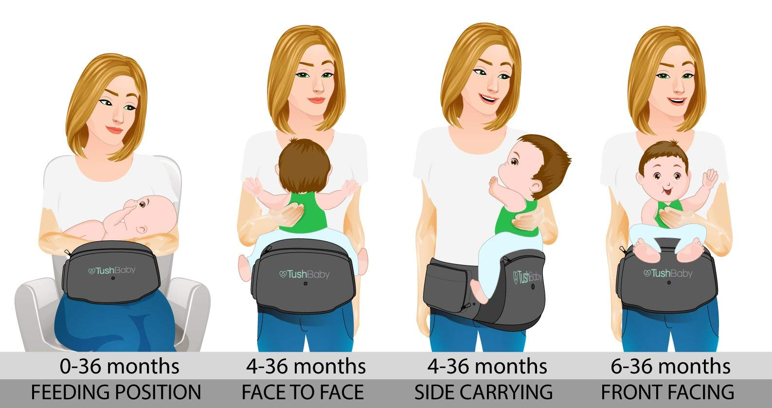 TushBaby The Original Hip Seat Baby Carrier, Grey by TushBaby (Image #6)