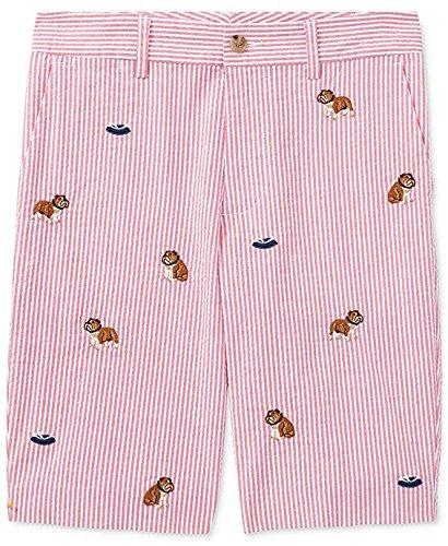 RALPH LAUREN Polo Boys Seersucker Embroidered Bulldog Shorts (18)