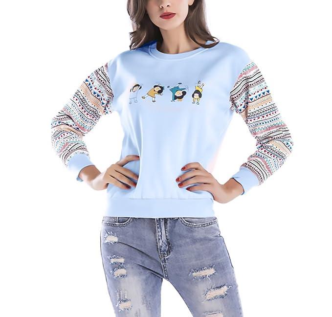 Mujer Sudaderas Estampadas Geométrico Animados Sweatshirts Otoño Invierno Elegantes Casual Camisetas Manga Larga Cuello Redondo Patchwork Más Grueso ...