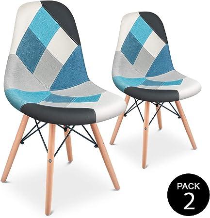 Mc Haus SENA Patchwork - Pack 2 Sillas comedor vintage patchwork tower multicolor azul diseño tapizado sillas salon estilo retro diseño tower 49x46x84cm: Amazon.es: Juguetes y juegos