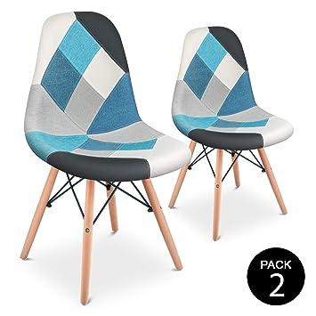 Mc Haus Pack 2 Sillas Comedor Vintage Diseño Tapizado Estilo Patchwork, Azul, 42 x 47 x 83 cm