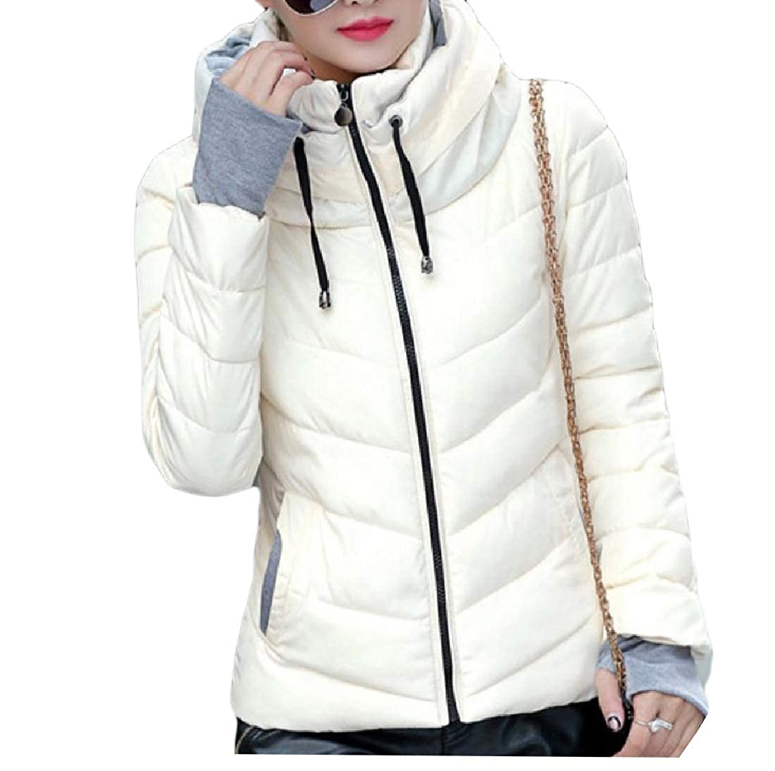 YUNY Womens Outwear Puffer Packable Light Weight Thicken Down Coat White S