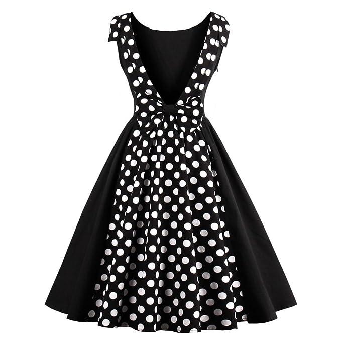 Las mujeres sexy Vestido Vintage 50s Hepburn Dress Dot Patchwork elegante vestido de verano Retro Fiesta Nocturna Casual Rockabilly Sin mangas: Amazon.es: ...
