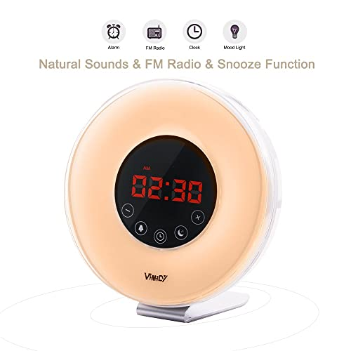Wake Up Light 2017 Newest Version Wake-Up Light Colored Sunrise Alarm Clock with Smart Snooze Function, Nature Sounds, FM Radio - Touch Control with USB Charger