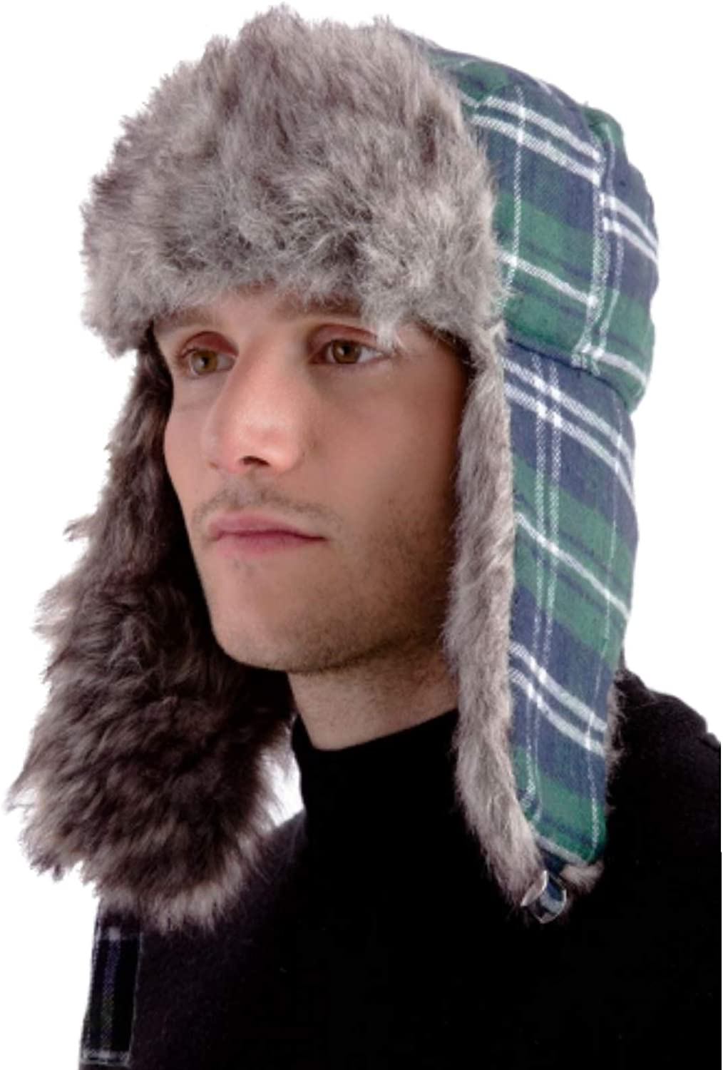 HDUK Mens Accessories Unisex Checked Tartan Design Trapper Hat with Faux Fur Trim//One Size 3 Colours