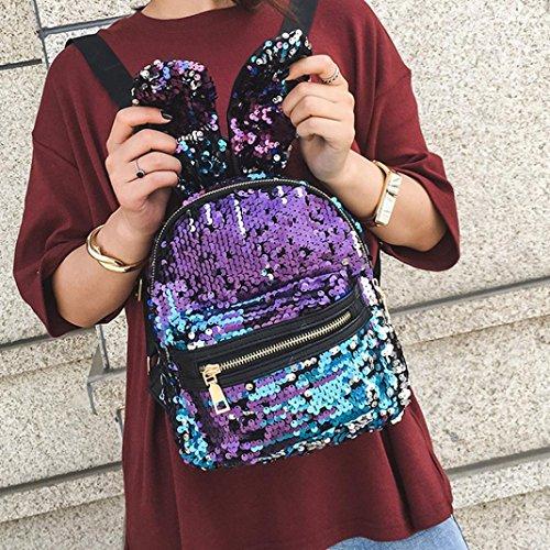 Borsa Blu Glitter Zaino Moda in Pelle School Shinning Preppy Zainetti da Viaggio Bling Zaino Stile Zaino Paillettes Donna Paillettes Hiroo con Borsa Backpack da Casual con F4qvwvAH