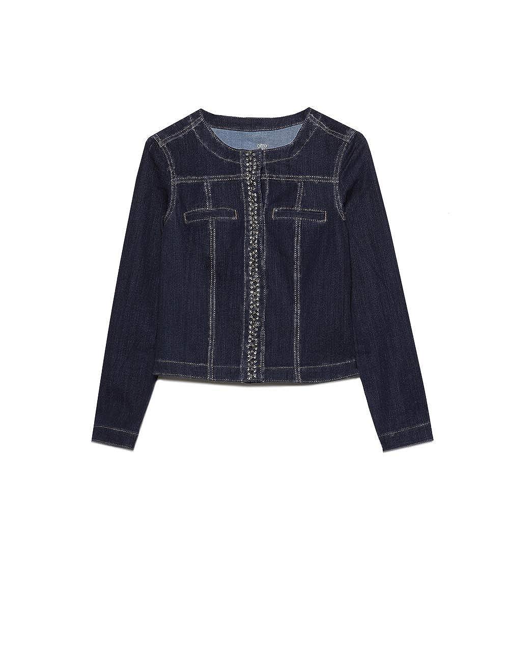 Italian Size Oltre Giubbotto in Jeans con castoni