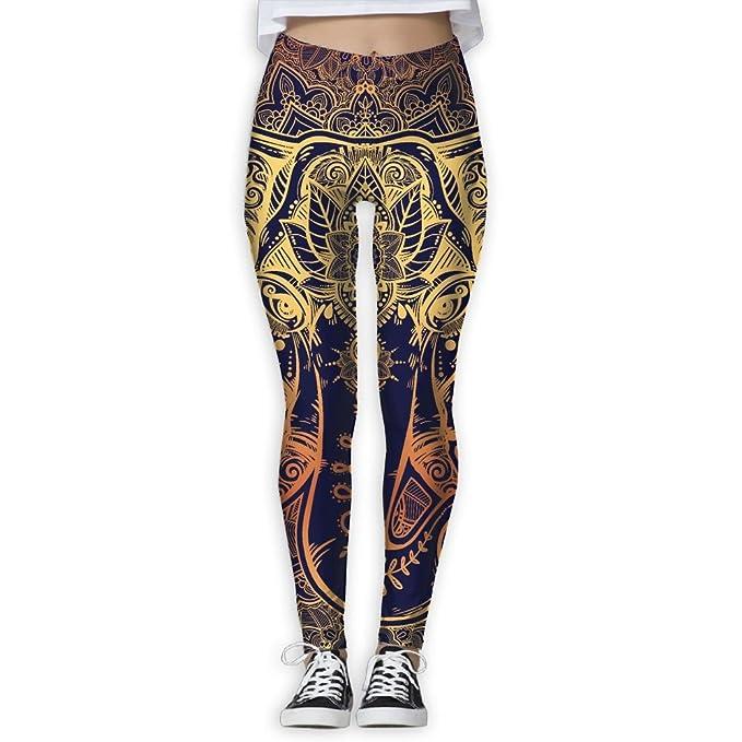Amazon.com: Leggings para mujer, diseño de elefante floral ...