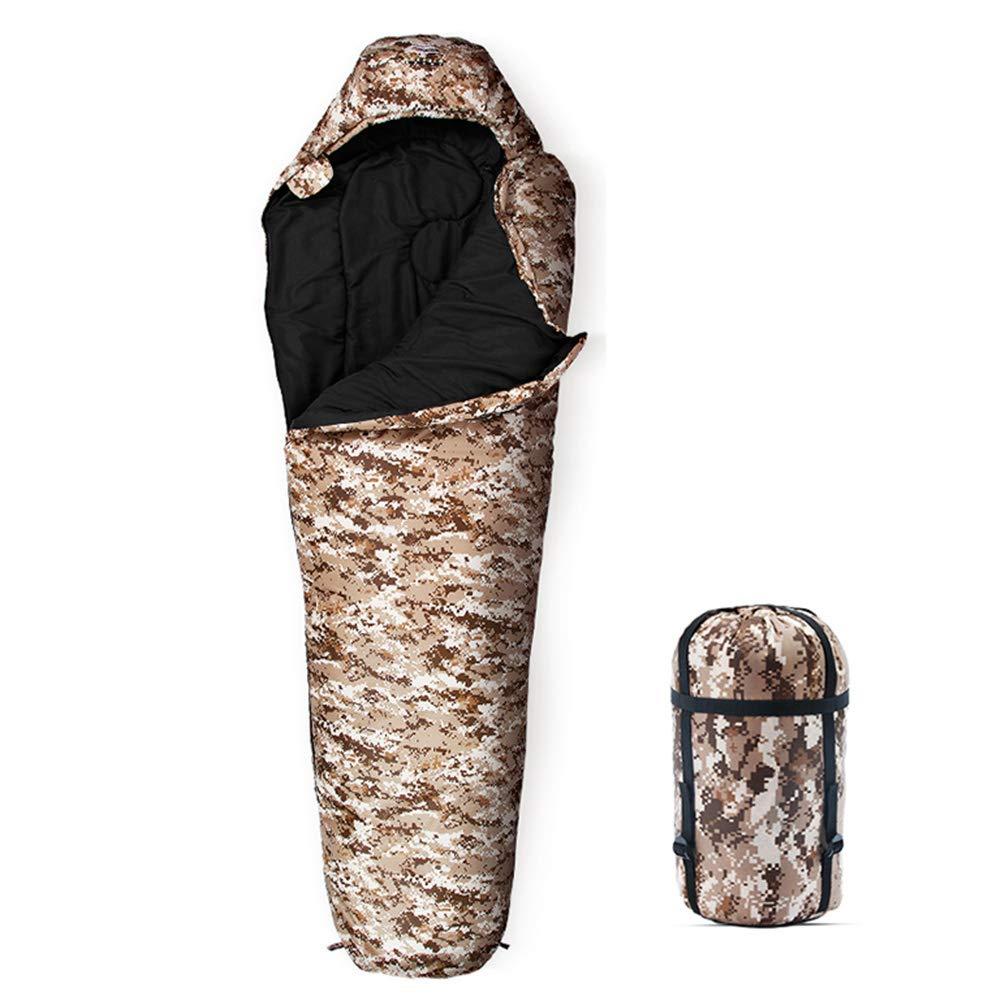 Desert Camouflage 1.3kg version FENGS Sac de Couchage Adulte 4 Saisons épaississeHommest extérieur Camping intérieur Camouflage Unique Sac de Couchage Sauvage Army vert Camouflage-1.3kg Version