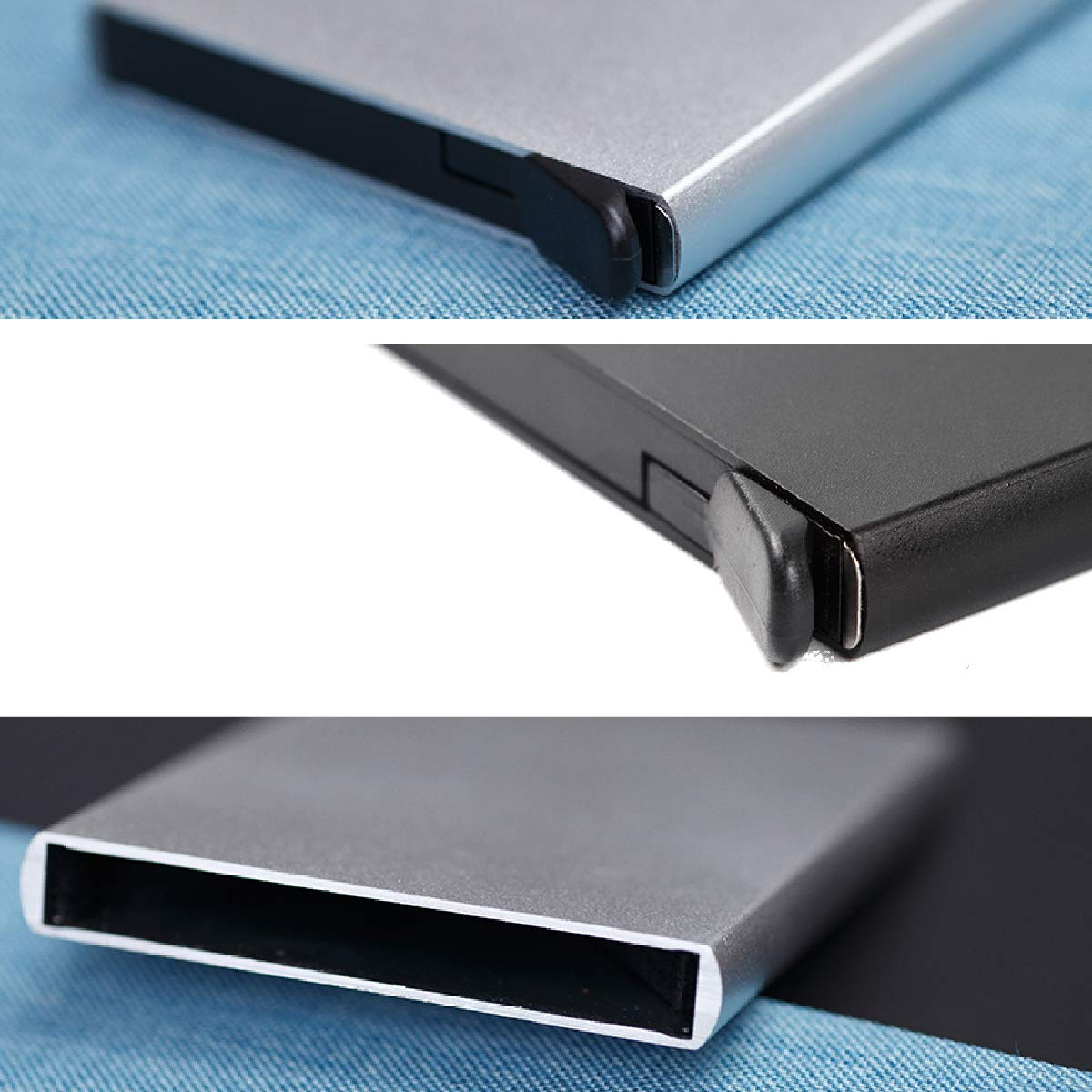 ... la tarjeta de crédito del bloqueo del RFID - Tenedor de la tarjeta de crédito de la cartera delgada de aluminio (Verde): Amazon.es: Oficina y papelería