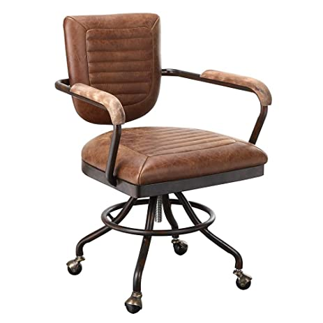 amazon com foster industrial office chair in leather light brown rh amazon com industrial style desk chairs industrial desk chair for sale