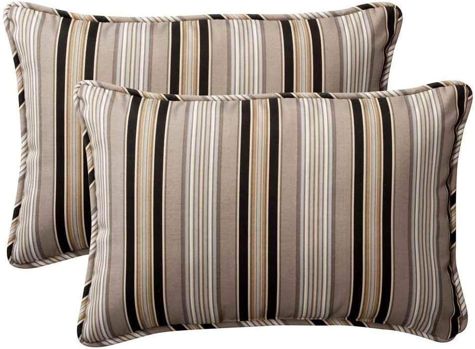 Pillow Perfect Decorative Black Beige Striped Toss Pillows, Rectangle, 2-Pack