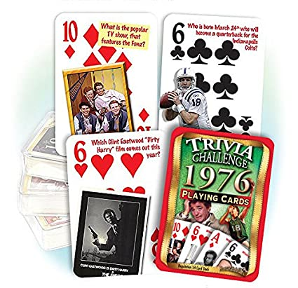 Amazon Flickback 1976 Trivia Playing Cards 42nd Birthday Or