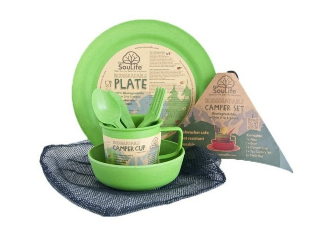 Ecosoulife Biodegradable Camper Set - Plate, Bowl, Cup, Cutlery Set, Mesh Bag (Green) by Ecosoulife