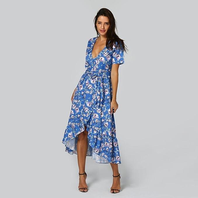 e1da635d739a Kleider Damen Dasongff Frauen Retro Kleider Print Floral V-Ausschnitt Blumen  Aufdruck Sommer Strandkleid Maxikleid Abendkleid Partykleid  Amazon.de  ...