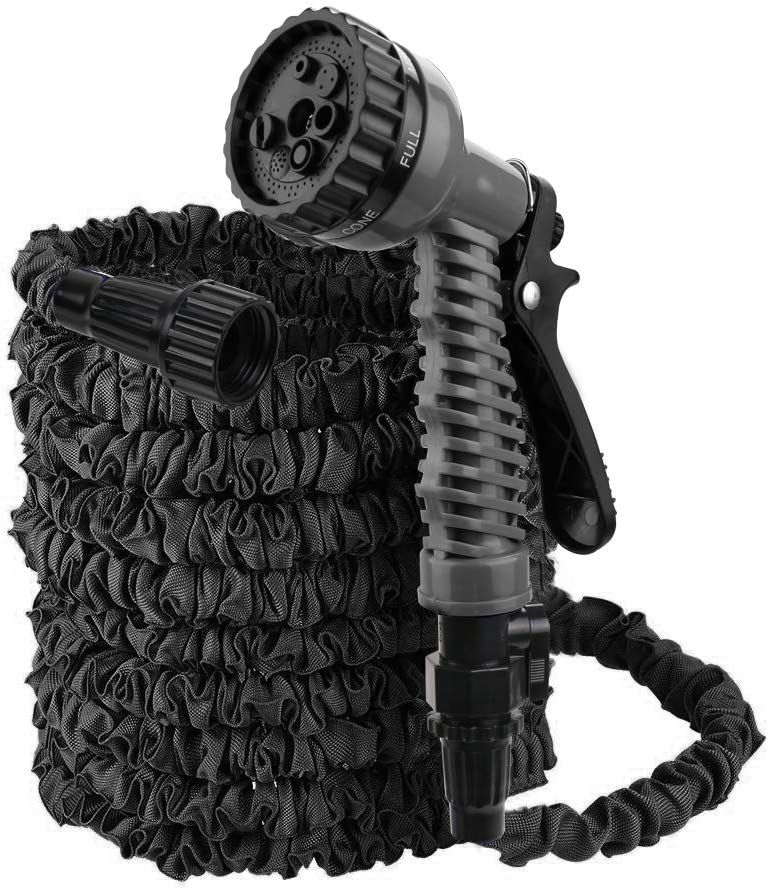 Flantor Garden Hose,Water Hose,25FT Upgrade Expandable Garden Water Hose, Double Latex Core - Extra Strength Fabric Protection - 7 Functions Spray Nozzle,Collapsible Hose for Flowers (50Feet, Black)
