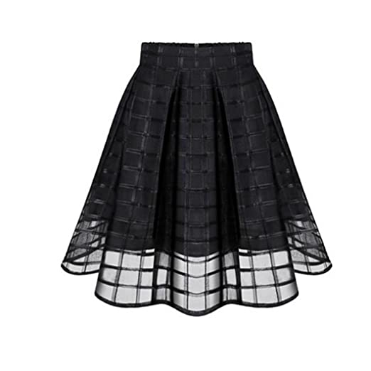 Amazon.com  Anshinto Women Natural Solid A-Line Chiffon Organza Skirts High  Waist Zipper Ladies Tulle Skirt  Clothing 4a2047583eff