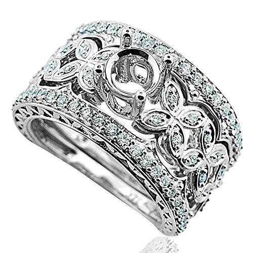 (Midwest Jewellery 14K White Gold Wedding Set Semi Mount Fits 1ct Round 0.60ct (i1/i2, h/i))