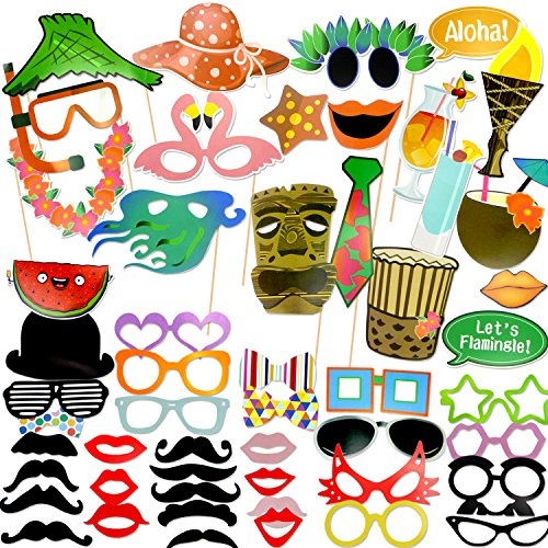 Coceca 60PCS Photo Props Selfie DIY Props for Hawaiian Themed Parties, DIY Luau Party Supplies for Hawaii Themed Summer Parties,Birthday Parties, Wedding, Graduation and Festivals
