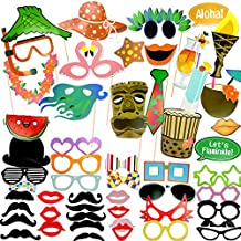 Coceca 60PCS Photo Booth Props Selfie DIY Props Including Mustaches Glasses Hats Lips Ties Crowns for Hawaiian Themed Parties, Birthday Parties, Wedding, Graduation and Festivals