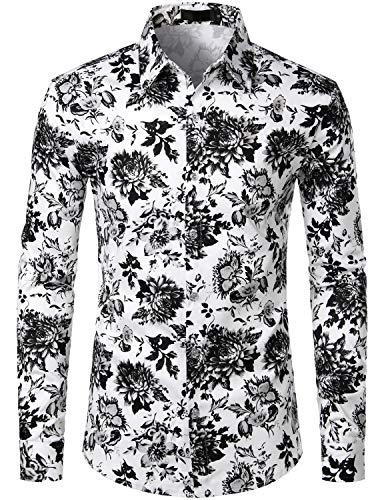 ZEROYAA Men's Floral Slim Fit Long Sleeve Cotton Casual Button Down Dress Shirt