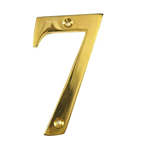 3 Inch Polished Brass Door Number 7   Screw Fix Front House Number