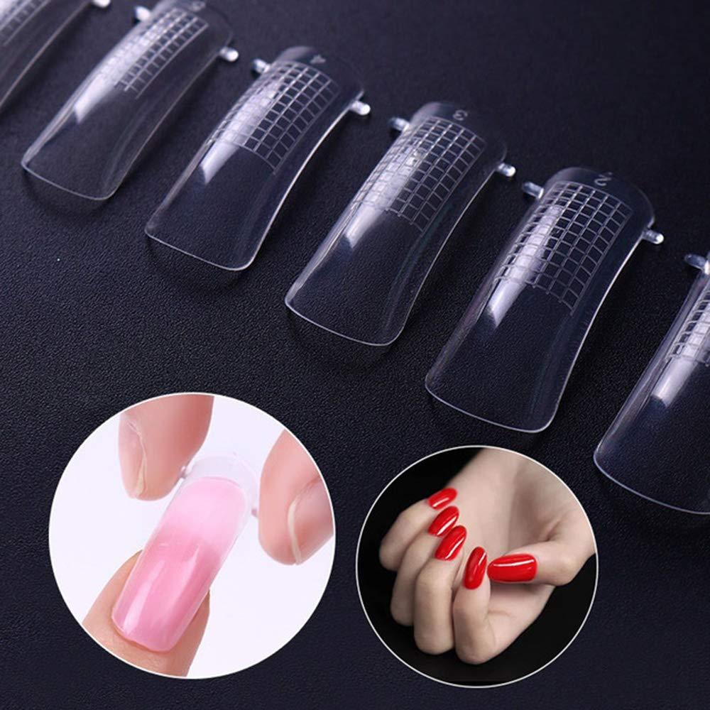 100 Piezas Puntas de uñas Translúcido Nail Tips para Niñas bricolaje salones de belleza cobertura completa Clavo francés: Amazon.es: Belleza