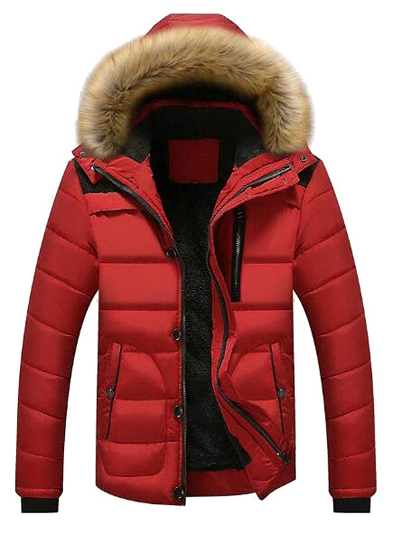 SELX-Men Vogue Winter Warm Down Coat With Fur Hooded Puffer Jacket