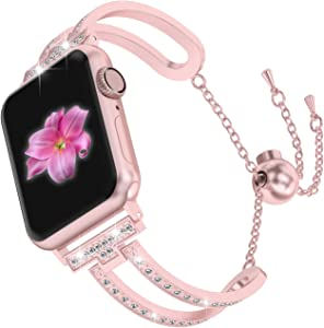 Wearlizer Rose Gold Compatible with Apple Watch Band 42mm 44mm Womens iWatch Bling Jewelry U-Type Dressy Wristband Steel with Rhinestone Bangle Replacement Strap Metal Bracelet Chain Series 5 4 3 2 1